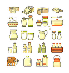 set of flat design cute colorful dairy icon vector image