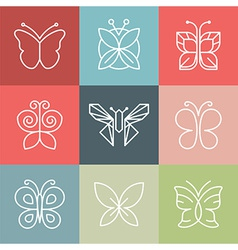 set of line butterfly logos and icons vector image
