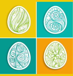 Set of stickers with easter eggs with fantasy vector