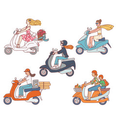 Set women characters riding scooter motorcycle vector