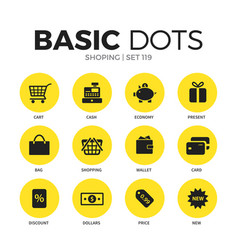 Shoping flat icons set vector