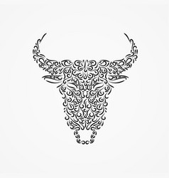 silhouette a buffalo head from ornate shapes vector image