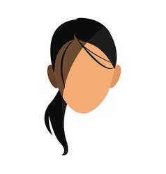 Silhouette face girl cartoon shadow vector