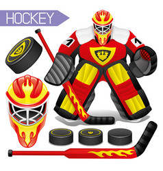 sports hockey set vector image