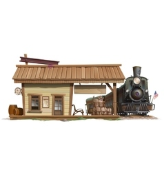 Station and vintage train in american style vector image
