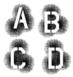 stencil angular spray font letters A B C D vector image