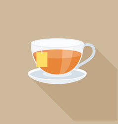 Tea in glass with tag flat design vector