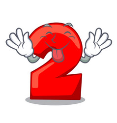 tongue out number two red isolated on mascot vector image