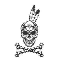 Vintage monochrome indian warrior vector