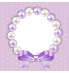 Vintage Pearl Frame with Bow Background vector