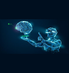 vr wireframe headset man with brain banner vector image