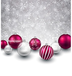 Winter background with magenta christmas balls vector image vector image