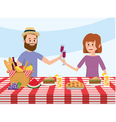 woman and man couple with basket in the table vector image