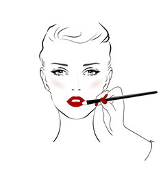 woman face with red lips and beautiful eye makeup vector image