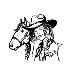 woman with cowboy hat portrait and horse han vector image