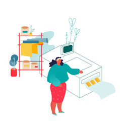Woman working in printing house or advertising vector