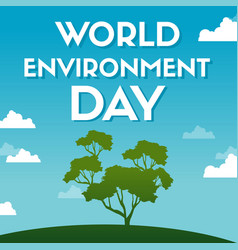 word environment day poster tree vector image
