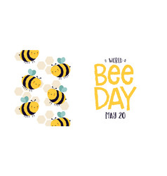 world bee day cute cartoon insect banner vector image
