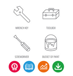 Wrench key screwdriver and paint bucket icons vector