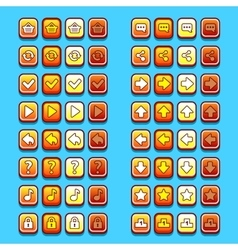 Yellow game icons buttons icons interface ui vector