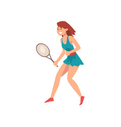 young woman playing tennis wearing sports uniform vector image