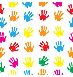 children s hands hand prints seamless texture vector image
