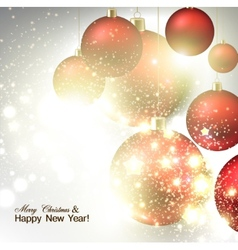 Christmas background with Red christmas balls and vector image