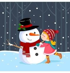 Cute girl kissing a snowman vector image vector image