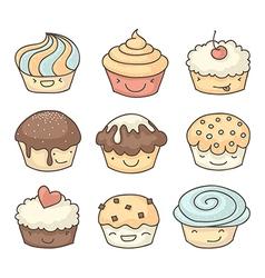 Doodle muffins set vector image