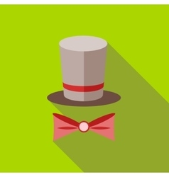 Top hat and bow tie icon flat style vector image vector image