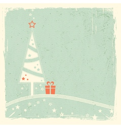 Christmas tree with present and stars vector