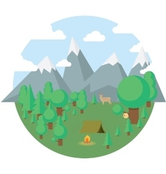 Flat camping travel icons vector image vector image