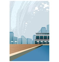 Poolside City View vector image vector image