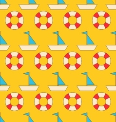 Seamless Pattern with Sea Elements Sailboats and vector image vector image