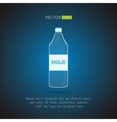 Simple milk bottle on a blue background vector image