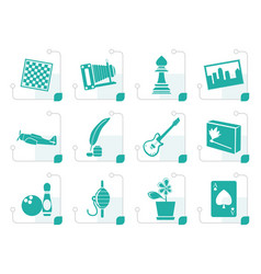 stylized hobby leisure and holiday icons vector image vector image