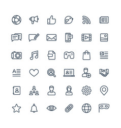 thin line icons set with social media vector image