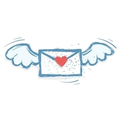 winged love letter vector image