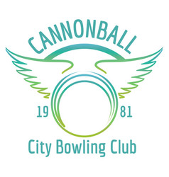 bowling club with winged ball logo vector image