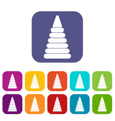 Pyramid built from plastic rings icons set flat vector
