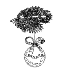 Sketch branch of a Christmas tree decoration ball vector image