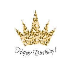 Birthday glitter crown icon vector image