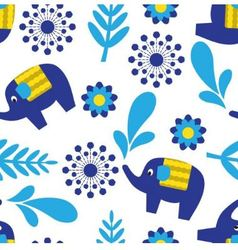 Cartoon seamless pattern with elephants and plant vector image