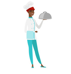 chef cook holding towel and cloche vector image