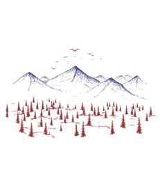 mountain and forest vector image