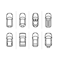 Set outline cars top view car icons vector