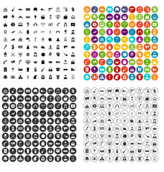 100 cinema actor icons set variant vector