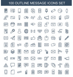 100 message icons vector image