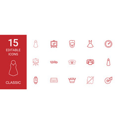 15 classic icons vector image