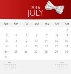 2016 calendar monthly calendar template for July vector image